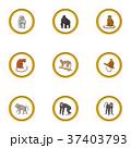Zoo monkey icons set, cartoon style 37403793