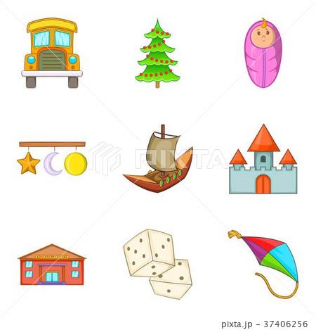 Happy childhood icons set, cartoon style 37406256