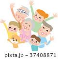 見上げて手を振る三世代にこにこ家族とペット  37408871