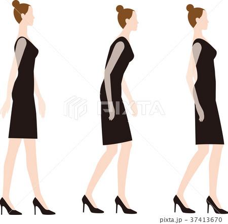 ハイヒールで歩くときの良い姿勢と悪い姿勢 37413670