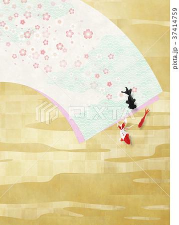 和風背景素材(扇、桜、金魚) 37414759