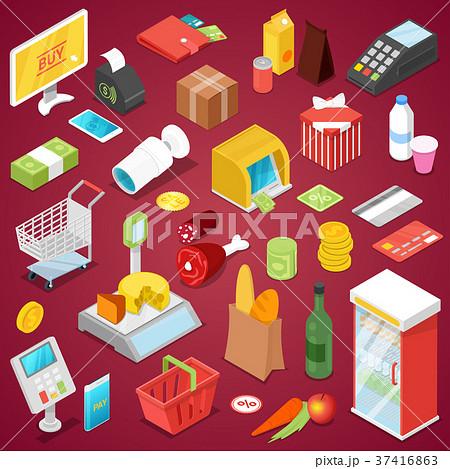 Supermarket shopping isometric 3D set 37416863