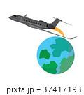 Airplane flying around the globe 37417193