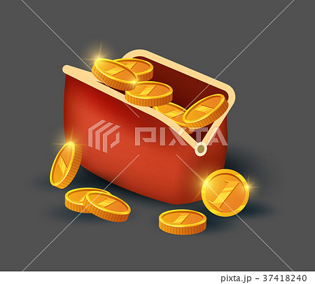Golden coins in leather purse icon 37418240