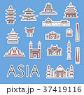 Asian traveling labels set in linear style 37419116