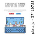 Explore Italy poster with open suitcase 37419788