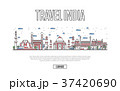 Travel India poster in linear style 37420690