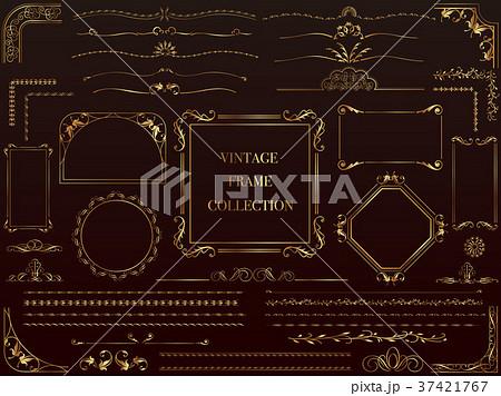 金色のビンテージフレーム&ボーダーセット 37421767