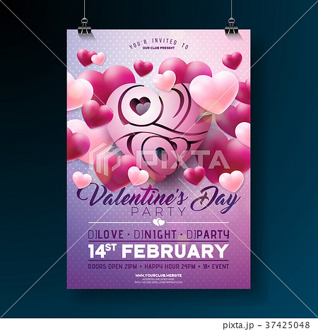 vector valentines day party flyer design with loveのイラスト素材