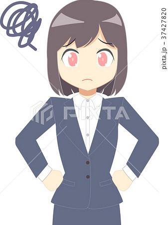 スーツの女性 腰に手をあてる 上半身のイラスト素材 37427820 Pixta