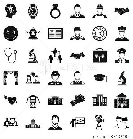 business plan icons set simple styleのイラスト素材 37432105 pixta