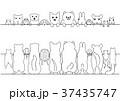かわいいペットのバナーのセット、顔と背中、線画 37435747