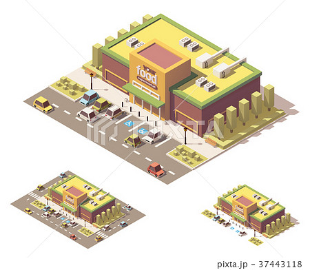 Vector isometric low poly supermarket 37443118
