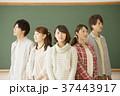 黒板の前で真剣な表情をする大学生 37443917