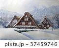 美しい白川郷 白川郷雪景色 手書き スケッチ 37459746