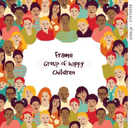 frame group of happy children のイラスト素材 37470938 pixta