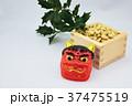 節分の鬼の面と豆と柊 37475519