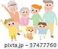 三世代にこにこ家族とペット  37477760