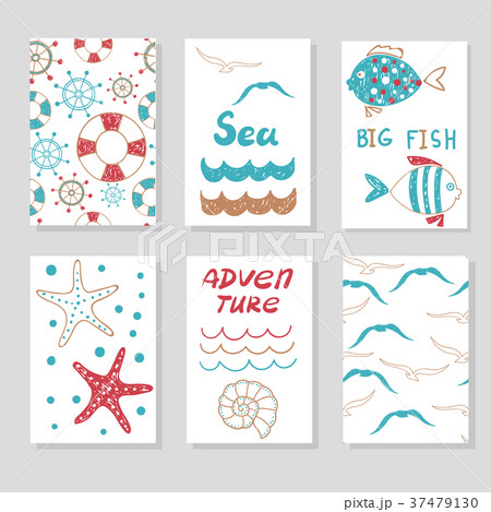 set of cute cards templates marine theme のイラスト素材 37479130