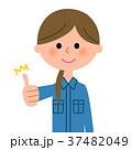 女性 作業服 作業員のイラスト 37482049
