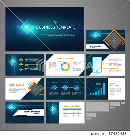 vector presentation business banner template setのイラスト素材