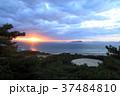 銭形砂絵 夕日 日没の写真 37484810