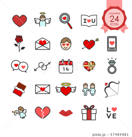 colorful signs and symbols flat icon for valentineのイラスト素材