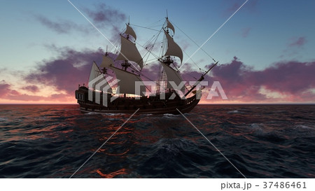 Sailboat at sea in the evening at sunset 3d 37486461