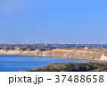 風車 海岸 青空の写真 37488658