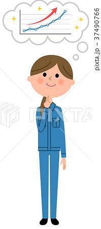 作業服の女性 右肩上がりを想像 37490766