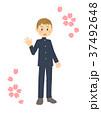 学生服 高校生 桜のイラスト 37492648
