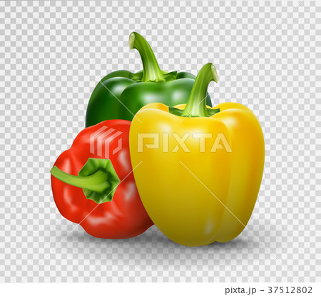 Set of three peppers. Yellow, red and green pepper 37512802