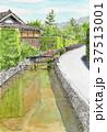 水彩画 藍場川 萩市のイラスト 37513001