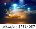 Aliens spaceships, ufo in red glowing sky 37514057