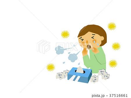 花粉症、アレルギーのイラスト。 37516661