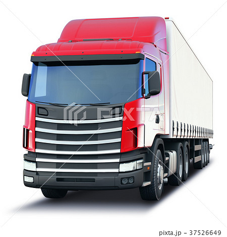 Freight semi-truck isolated on white background 37526649