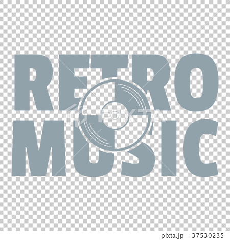 Festival retro music logo, simple gray style 37530235