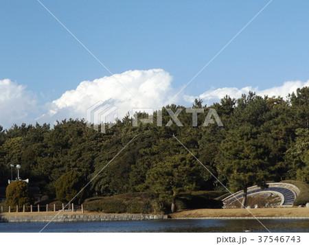 稲毛海浜公園池の前の日時計の上の青空と白い雲 37546743