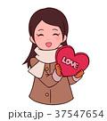 バレンタインデー バレンタイン 女性のイラスト 37547654