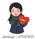 バレンタインデー バレンタイン 女性のイラスト 37547655