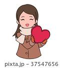 バレンタインデー バレンタイン 女性のイラスト 37547656