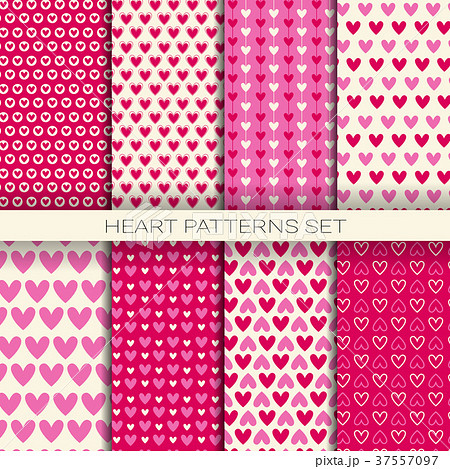 heart patterns set seamless backgrounds forのイラスト素材 37557097