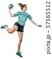 young teenager girl woman Handball player isolated 37565512