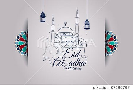 Eid al-Adha greeting card with goat head and mosqu 37590797