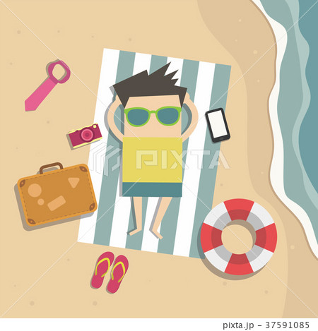 Businessman relaxes on the beach on vacation 37591085