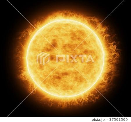 Bright and hot orange sun 37591599