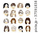 女性 顔 髪型のイラスト 37591838