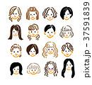 女性 顔 髪型のイラスト 37591839