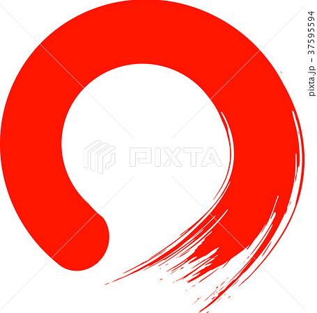 丸 円 赤 筆文字 37595594