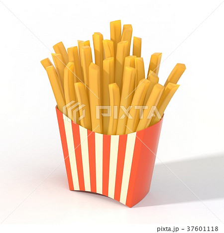 Fast food french fries in a container 37601118